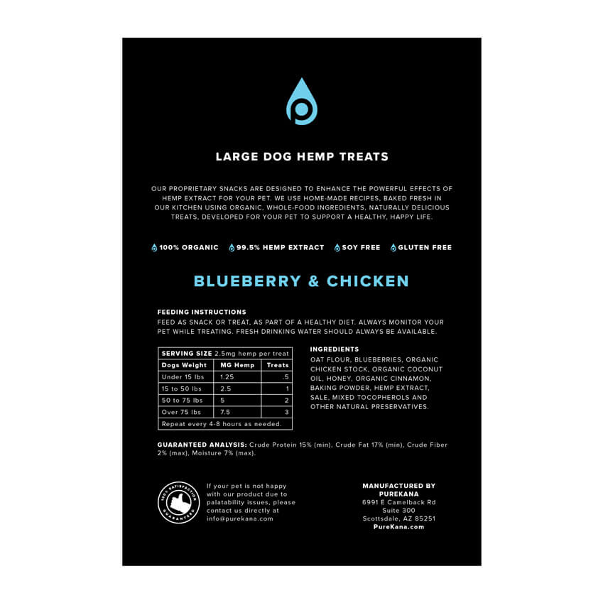 Hemp Dog Treats (Large Dog) – Blueberry & Chicken